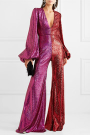 Two-tone sequined tulle jumpsuit
