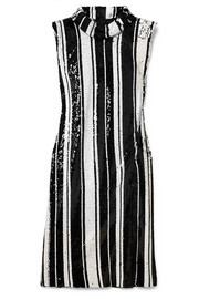 Striped sequined silk dress