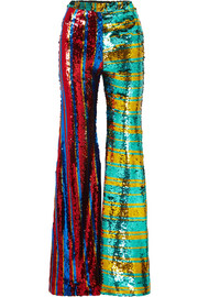 Striped sequined tulle wide-leg pants