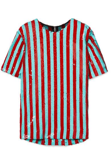 HALPERN | Halpern - Striped Sequined Tulle T-shirt - Red | Goxip