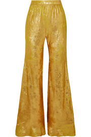 Metallic georgette flared pants