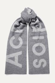 아크네 스튜디오 토론티 로고 인타르시아 울 스카프 토널그레이 Acne Studios Toronty intarsia wool-blend scarf