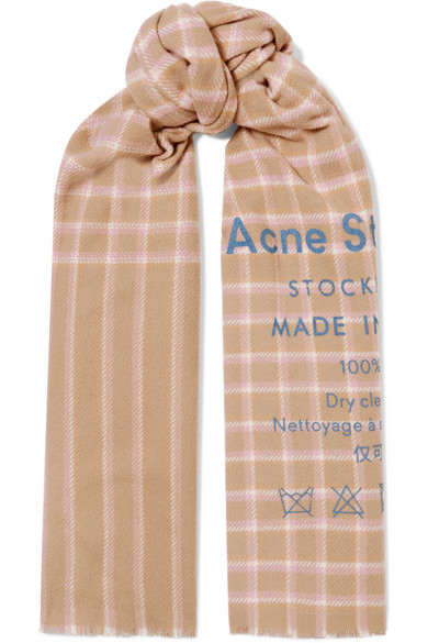 Acne Studios Accessories Cassiar printed checked wool scarf