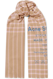 아크네 스튜디오 카시아 체크 울 스카프 베이지멀티 Acne Studios Cassiar printed checked wool scarf