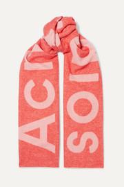 아크네 스튜디오 토론티 로고 인타르시아 울 스카프 코랄핑크 Acne Studios Toronty intarsia wool-blend scarf