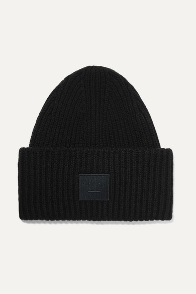 54c13941 Acne Studios | Pansy Face appliquéd ribbed wool beanie | NET-A ...