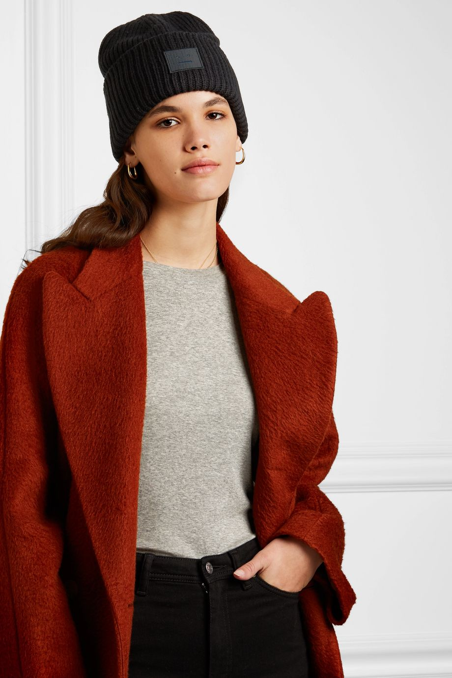 Acne Studios Appliquéd ribbed wool beanie