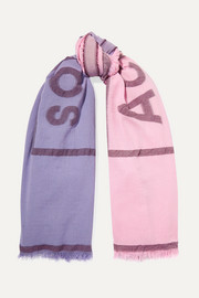 Vinnie two-tone embroidered cotton-blend scarf