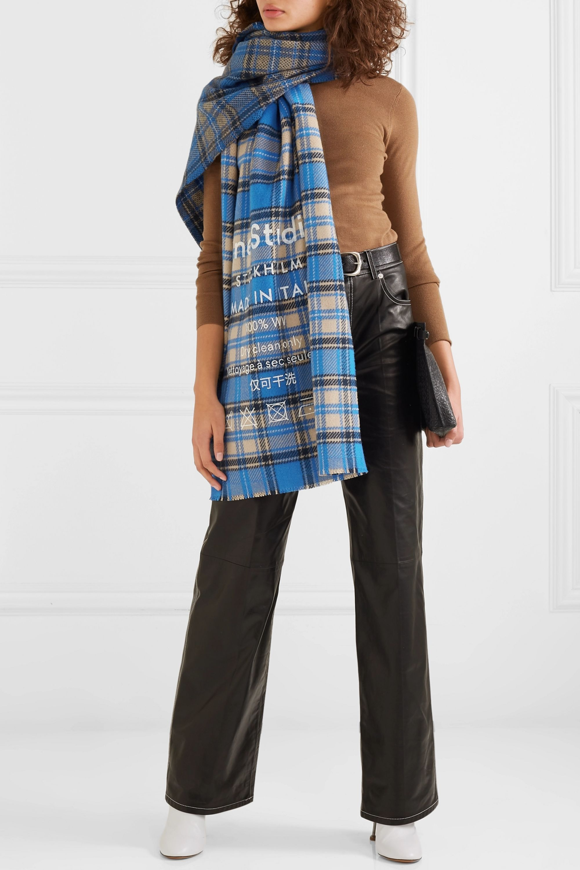 Acne Studios Cassiar printed checked wool scarf