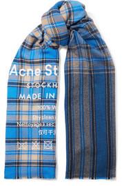 아크네 스튜디오 카시아 체크 울 스카프 블루멀티 Acne Studios Cassiar printed checked wool scarf