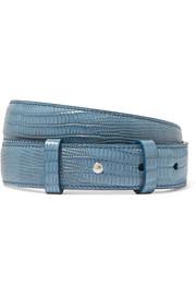 아크네 스튜디오 아네모네 리자드 무늬 가죽 벨트 라이트블루 Acne Studios Anemone lizard-effect leather belt