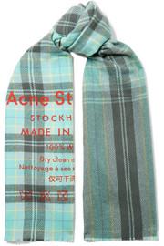 아크네 스튜디오 카시아 체크 울 스카프 터쿠와즈멀티 Acne Studios Cassiar printed checked wool scarf