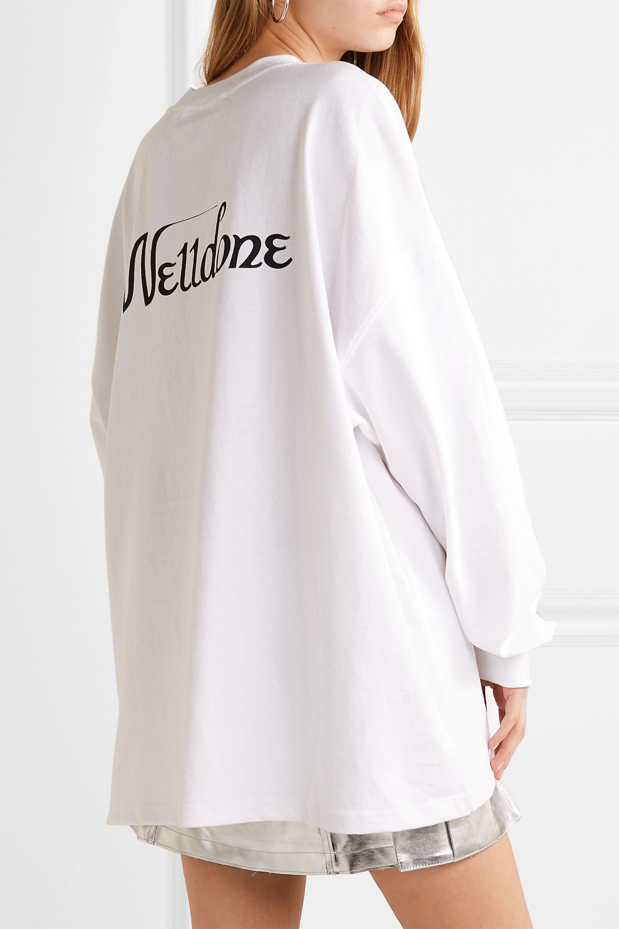 we11done Oversized printed cotton-jersey top
