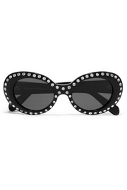 Mustang round-frame crystal-embellished acetate sunglasses