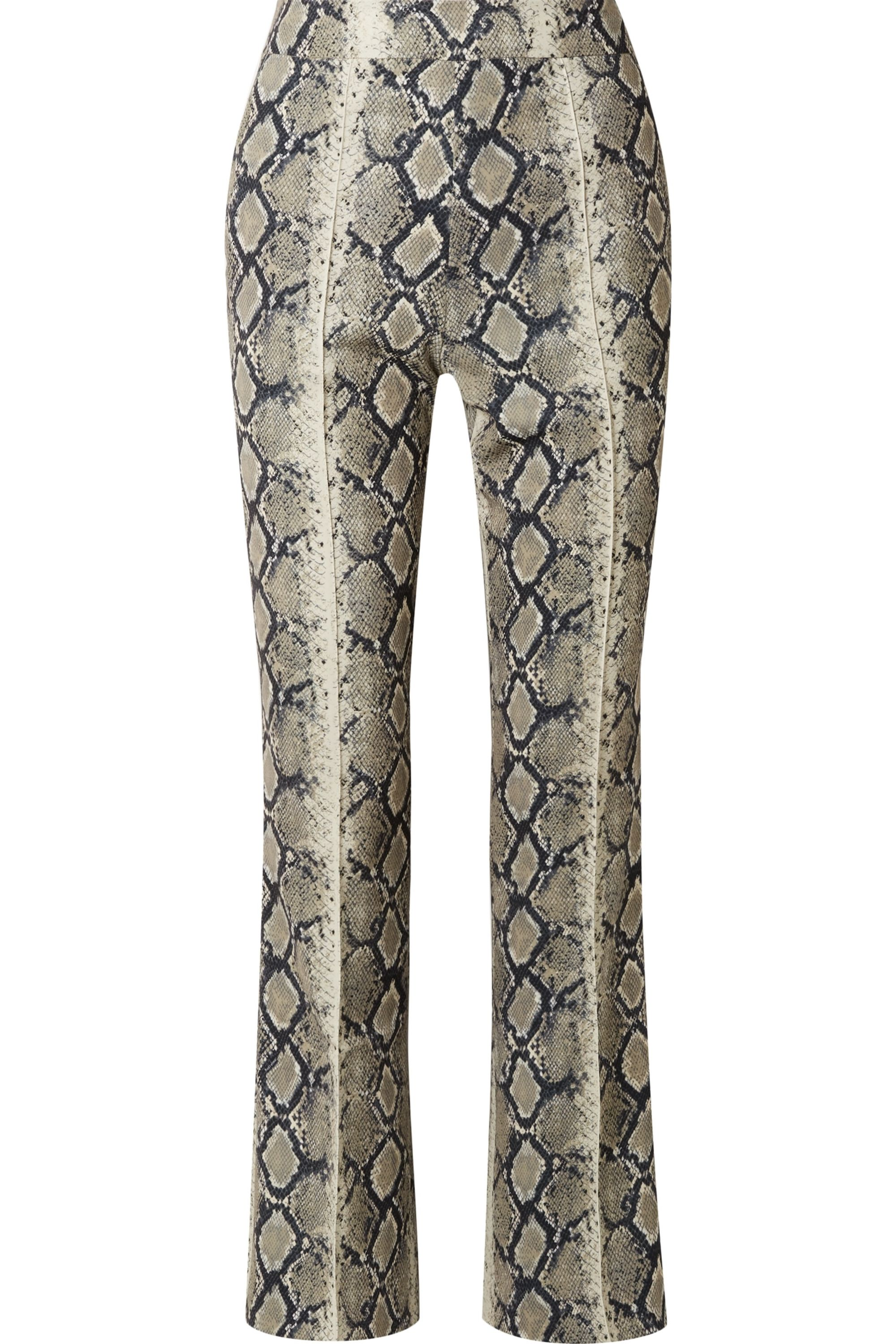 we11done Snake-print stretch-jersey flared pants