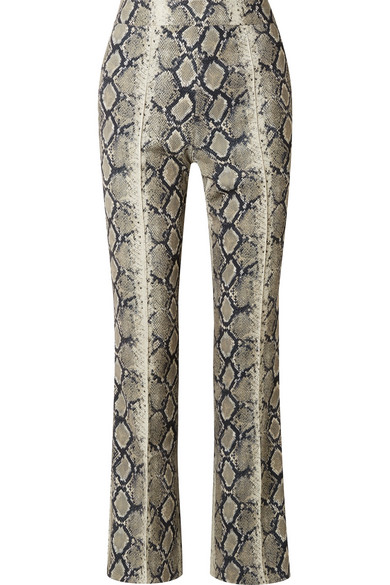 We11Done Cropped Flared Python Effect Trousers - Green in Beige