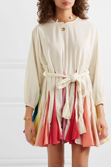 Rhode Resort Ella Belted Color-Block Cotton-Voile Mini Dress In Cream
