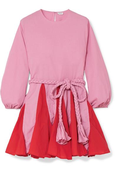 Rhode ELLA TWO-TONE BELTED COTTON MINI DRESS