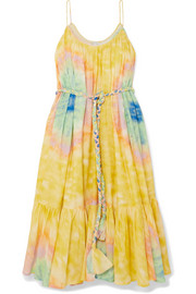 Rhode Lea belted tie-dyed cotton-voile midi dress