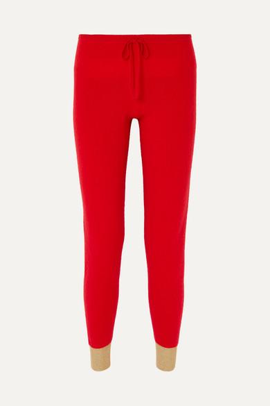 MADELEINE THOMPSON   Madeleine Thompson - Ariuno Metallic Cashmere Track Pants - Red   Goxip