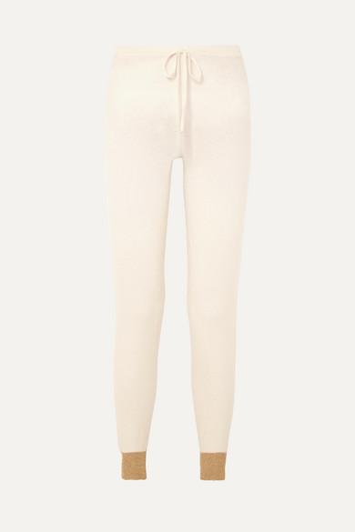 MADELEINE THOMPSON   Madeleine Thompson - Ariuno Metallic Cashmere Track Pants - Cream   Goxip