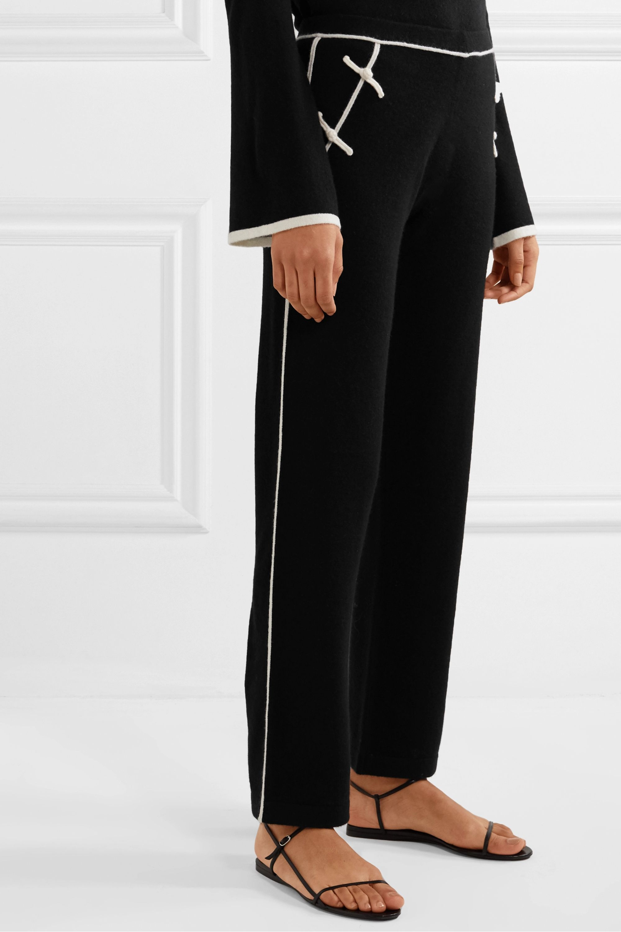 Madeleine Thompson Nave two-tone cashmere straight-leg track pants