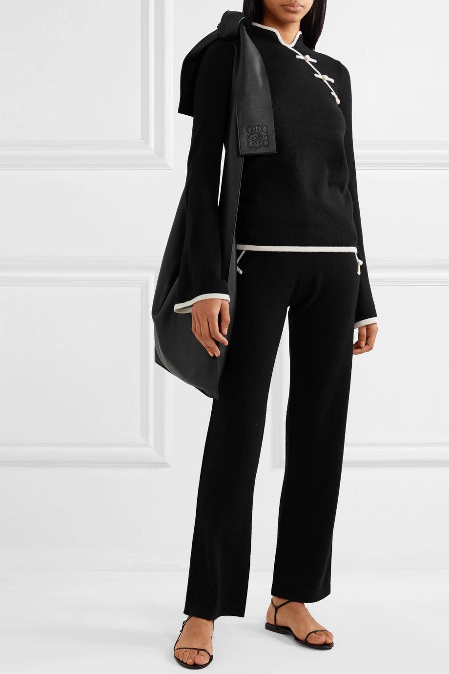 Madeleine Thompson Nave two-tone cashmere straight-leg track pants