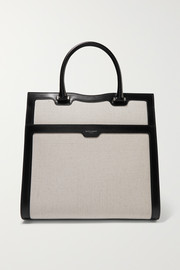 SAINT LAURENT Uptown two-tone glossed-leather and canvas tote