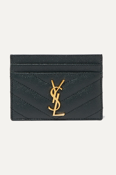Saint Laurent Tops Quilted textured-leather cardholder