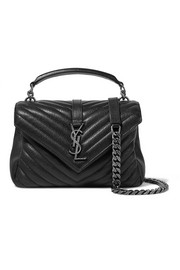College medium quilted leather shoulder bag