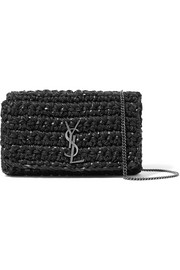 Kate medium macramé and suede shoulder bag