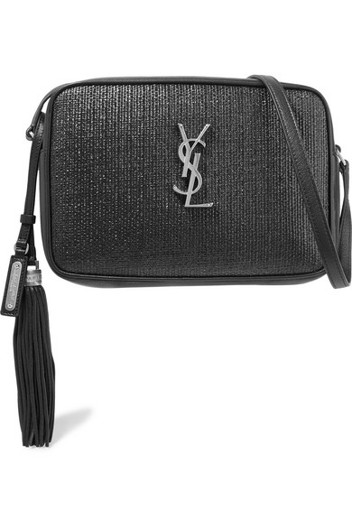 Saint Laurent Bags Lou raffia and leather shoulder bag