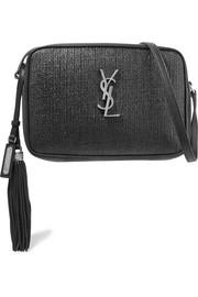 생 로랑 Saint Laurent Lou raffia and leather shoulder bag