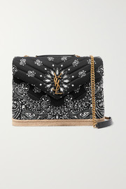 Loulou medium leather and jute-trimmed quilted printed cotton shoulder bag