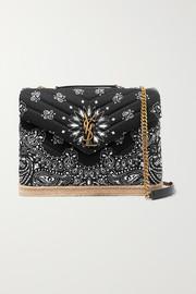 생 로랑 Saint Laurent Loulou medium leather and jute-trimmed quilted printed cotton shoulder bag