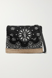 Loulou Toy leather and jute-trimmed quilted printed cotton shoulder bag