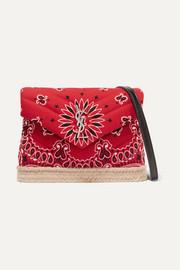 생 로랑 Saint Laurent Loulou Toy leather and jute-trimmed quilted printed cotton shoulder bag