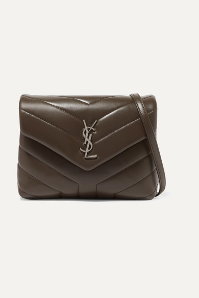 Loulou Toy Quilted Leather Shoulder Bag in Taupe