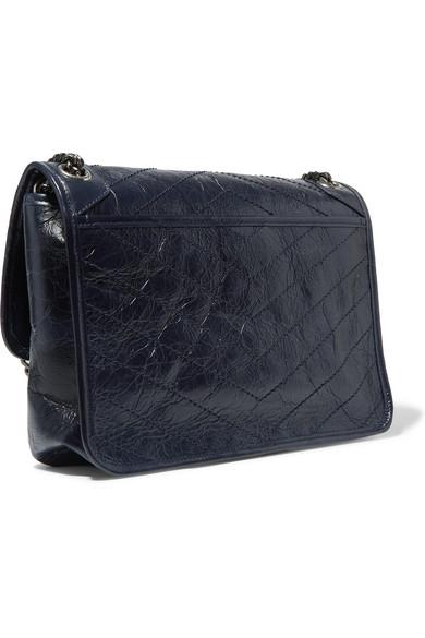 Saint Laurent. Niki medium quilted crinkled glossed-leather shoulder bag 1dee7eeef2230