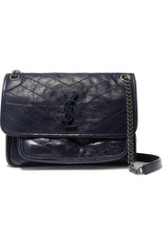 Niki medium quilted crinkled glossed-leather shoulder bag