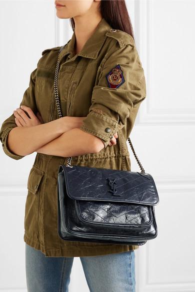 5702c96d4ee9 Niki medium quilted crinkled glossed-leather shoulder bag