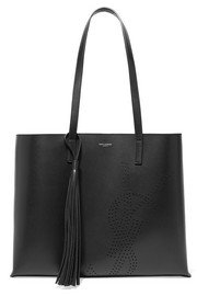 Shopper perforated leather tote