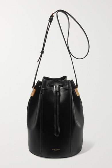 SAINT LAURENT | SAINT LAURENT - Talitha Medium Leather Bucket Bag - Black | Goxip
