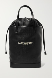 Saint Laurent Teddy leather-trimmed printed raffia tote
