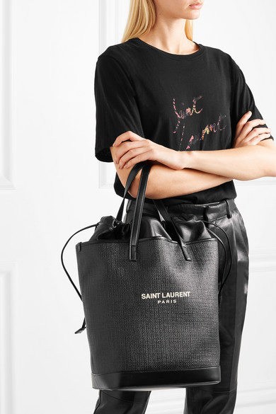 1f1bf430d27a SAINT LAURENT   Teddy leather-trimmed printed raffia tote   NET-A ...