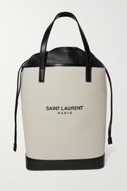 생 로랑 Saint Laurent Teddy leather-trimmed printed canvas tote