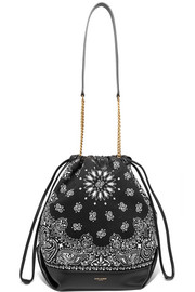 Saint Laurent Teddy leather-trimmed printed canvas bucket bag