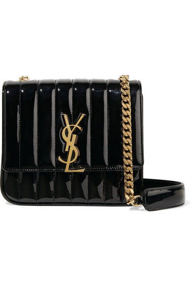 b1dfeabf364 SAINT LAURENT | Vicky medium quilted patent-leather shoulder bag ...