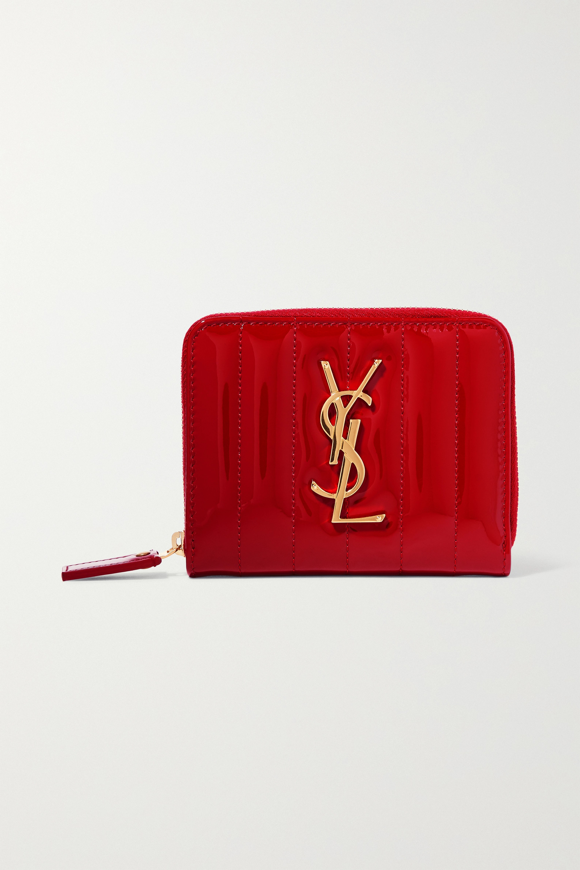 SAINT LAURENT Vicky quilted patent-leather wallet