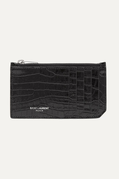 Fragments Crocodile-Effect Leather Cardholder in Black